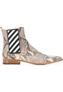Off-White Snakeskin Effect Ankle Boots - Marrom