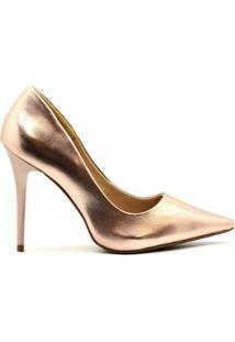 Scarpin Royalz Metalizado Salto Alto Fino Penélope - Feminino-Rosê