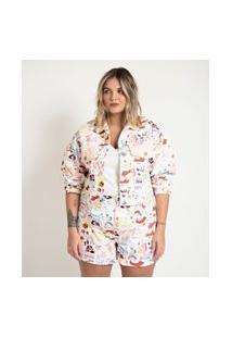 Jaqueta Em Sarja Com Estampa Namorados Curve & Plus Size Rosa