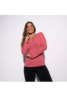 Blusa Gola V Lisa Feminina - Feminino-Rosa