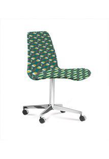Cadeira Eames Base Cromada Com Rodizio Daf Colorido Verde