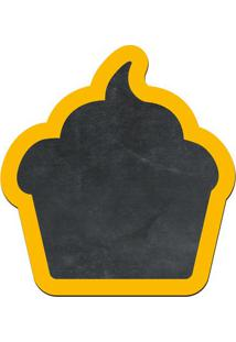 Quadro Decorativo Lousa De Giz Cupcake- Preto & Amarelo