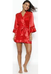 Robe Curto Com Recortes Com Lycra®- Vermelhofruit De La Passion