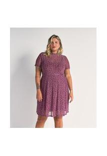Vestido De Tule Estampado Com Golinha Curve E Plus Size Roxo