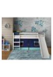 Cama Com Escorregador Em Madeira Maciça E Tenda Verde/Azul - Casatema