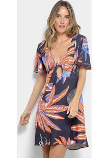 220734f2e2 ... Vestido Morena Rosa Evasê Curto Estampado - Feminino-Laranja+Azul