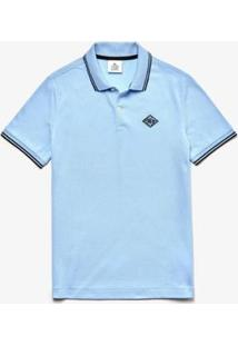 Camisa Polo Lacoste Live Slim Fit Detalhe Na Gola Masculina - Masculino-Azul Claro+Preto