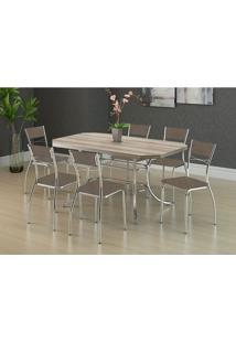 Mesa 1507 Nogueira Cromada Com 6 Cadeiras 1701 Camurça Conhaque Carraro