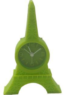 Relógio De Mesa Torre Eiffel Emborrachado Cor Verde 12X8X2Cm - Tricae