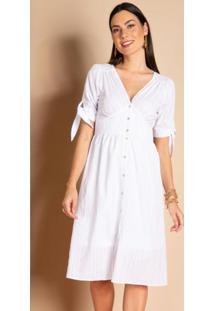 Vestido Branco Texturizado Com Botões