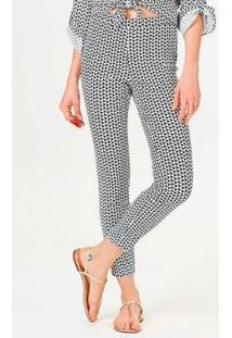 Calça Super Skinny Estampada Feminina - Feminino-Branco