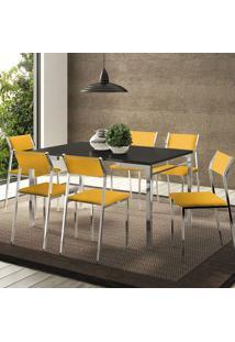 Mesa 1526 Preta Cromada Com 6 Cadeiras 1709 Amarela Carraro