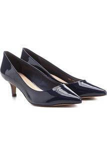 Scarpin Shoestock Salto Médio Verniz - Feminino-Marinho
