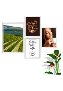 Kit Conjunto 4 Quadro Oppen House S Frases Com Café Coffe Sweet Lojas Cafeteria Xícaras Gráos Moldura Branca Decorativo Interiores Sem Vidro