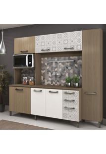 Cozinha Compacta E780 Sense Kappesberg Nature/Branco/Azulejo