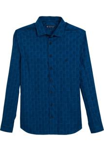 Camisa Dudalina Manga Longa Fio Tinto Maquinetado Xadrez Masculina (Azul Escuro, 5)