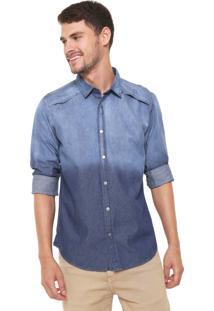 Camisa Jeans Reserva Reta Estonada Azul