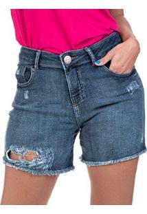Bermuda Jeans Boyfriend Destroyed Feminina - Feminino