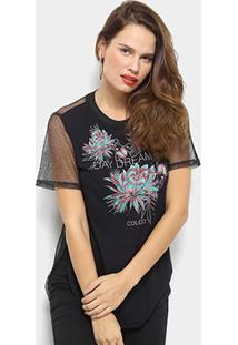 Camiseta Colcci Tela Estampada Flor Feminina - Feminino-Preto