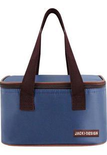 Bolsa Térmica Essencial- Azul Marinho & Marrom- 13X2Jacki Design