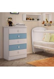 Cômoda De Bebê 5 Gavetas Móveis Percasa Branco/Azul