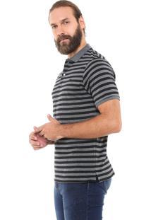 Camisa Polo Yachtsman Reta Listrada Grafite/Preta