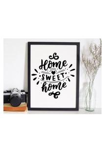 Quadro Decorativo Com Moldura Home Sweet Home Preto