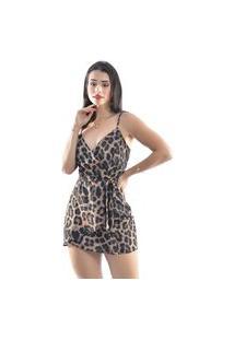 Vestido Sem Bojo Com Amarração Estampa Animal Print