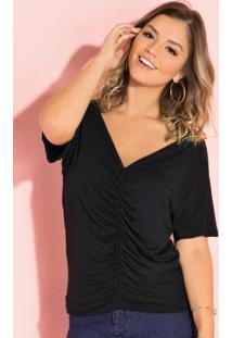 Blusa Preta Com Drapeado Frontal E Decote V