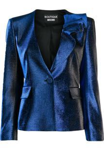 Boutique Moschino Jaqueta Slim Com Efeito Metálico - Azul