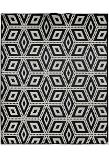 Tapete Sisllê Geométrico Cubes Retangular Polipropileno (100X150) Preto