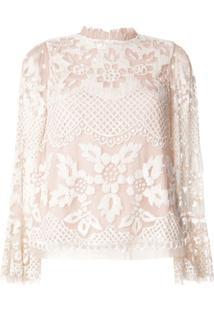 Needle & Thread Blusa De Renda Floral Com Babados Na Gola - Neutro