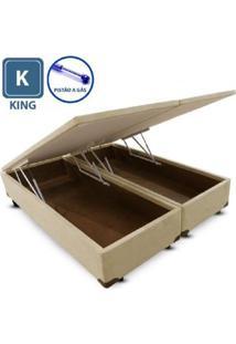 Cama Box King Size Com Bau Pistão A Gás Bege Bipartido