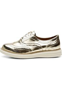 Sapato Social Top Franca Shoes Oxford Spechio Ouro Light