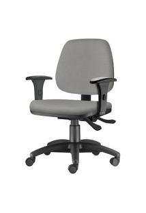 Cadeira Job Com Bracos Semi Curvados Assento Crepe Cinza Claro Base Nylon Arcada - 54629 Cinza