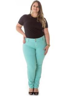 Calça Jeans Plus Size Cigarrete Jet Color Feminina - Feminino-Verde