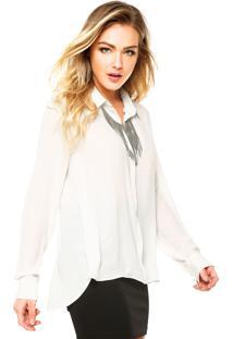 Camisa Manga Longa Ellus Colar Off-White