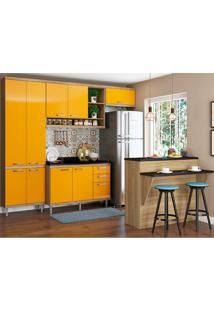 Cozinha Compacta Com Tampo 6 Peças 5846 Sicília - Multimóveis - Argila / Amarelo