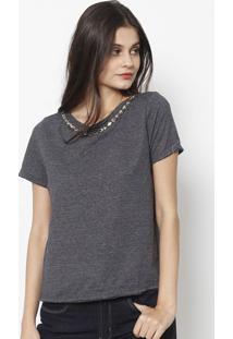 Camiseta Mescla Com Pedraria - Cinzalança Perfume