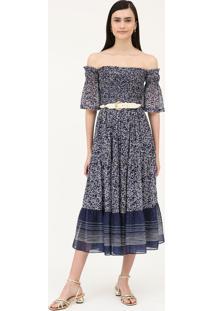 Vestido Midi Floral Isabella - Azul - Pp