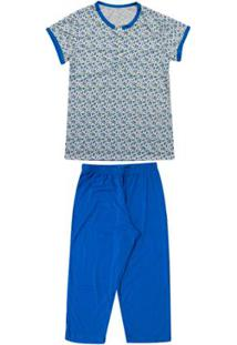 Pijama Pescador M/Curta Luna Cuore - Feminino-Azul