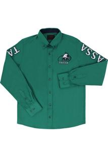 ... Camisa Masculina Verde Manga Longa Bordada - Tassa 19362 f7667ce442af1