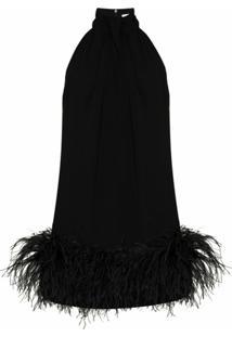 16Arlington Vestido Cynthia Com Acabamento De Plumas - Preto