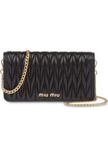 Miu Miu Matelassé Leather Mini-Bag - Preto