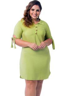 Vestido Chemise Plus Size Verde Claro