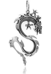 """Pingente Em Prata Dragão Envelhecido """"G"""""""