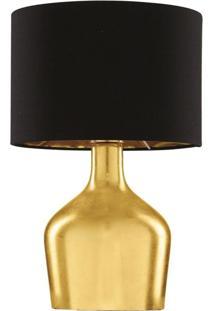 Abajur Em Vidro E Tecido Dourado Cúpula Preta