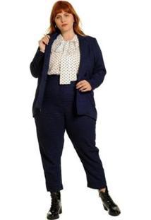 Calça Plus Size Alfaiataria Xadrez Gales Feminina - Feminino-Marinho