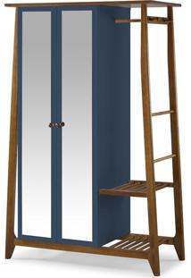 Armário Multiuso 2 Portas Stoka 982 Nogal/Azul Noite - Maxima