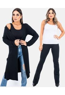 Kit 2 Pã§As 1 Cardigan Kimono Longo E 1 Calã§A Legging Fuso Flare Plus Size Juquitiba Brasil Preto - Preto - Feminino - Viscose - Dafiti